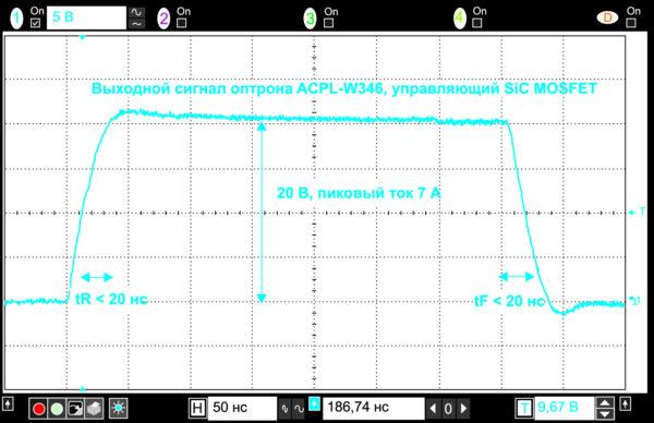 Осциллограмма выходного сигнала оптрона ACPL-W346, который управляет SiC MOSFET