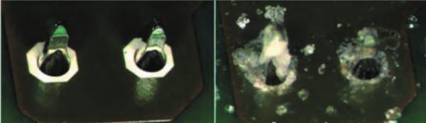 Внешний вид контактных пар до и после воздействия соляного тумана [5]