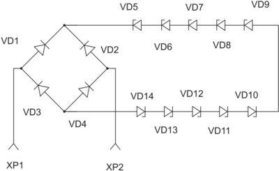 Электрическая схема симметричного ограничителя напряжения с выпрямительным мостом