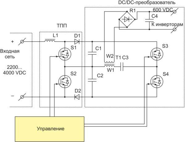 Предлагаемая схема вспомогательного преобразователя с использованием IGBT-модулей 65-го класса