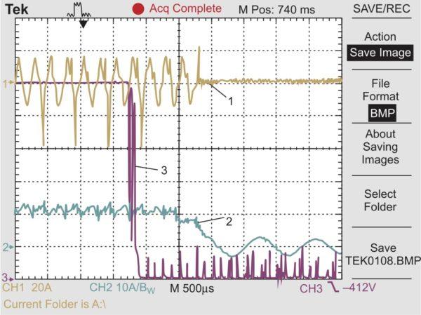Неисправность датчика UV3 и действие защиты UVP (1 — ток в диагонали, 20 А/дел; 2 — входной ток, 10 А/дел; 3 — выходной сигнал датчика UV3)