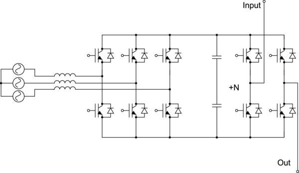 MV инвертора с 3-фазным активным выпрямителем для обеспечения синусоидального тока потребления и возможности рекуперации энергии (4Q-конфигурация). Ячейки питаются от одинаковых обмоток без фазового сдвига [4]