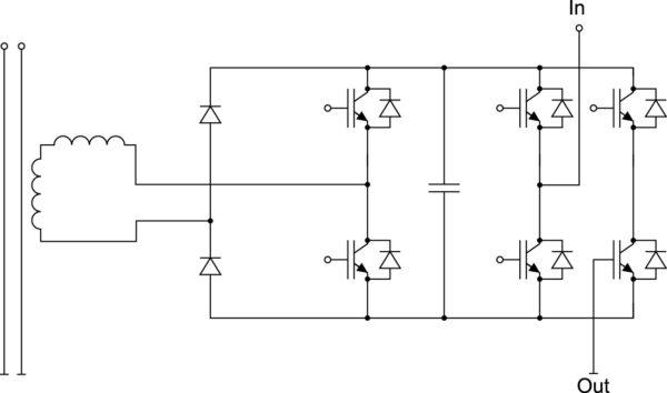 Ячейка MV-инвертора с однофазным полумостовым ККМ