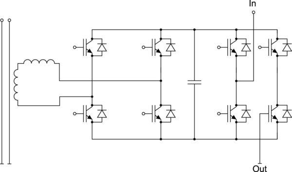 Ячейка MV-инвертора с однофазным активным выпрямителем (4Q-режим с рекуперацией энергии)