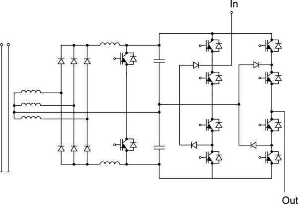Ячейка MV-инвертора с трехфазным выпрямителем,двойным бустерным ККМ и однофазным 3-уровневым выходным инвертором