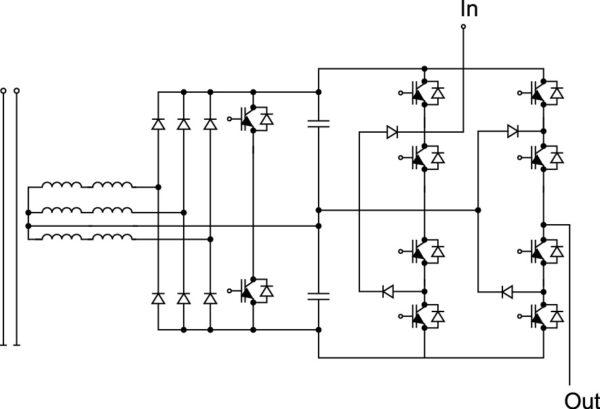 Ячейка MV-инвертора с трехфазным выпрямителем, двойным бустерным ККМ (дроссель в АС-цепи) и однофазным 3-уровневым выходным инвертором