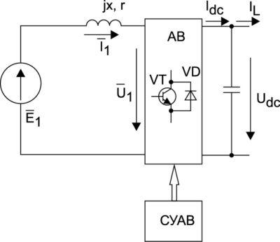 Эквивалентная схема замещения системы «СММ–АВ»