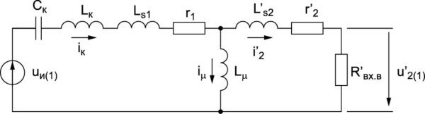 Эквивалентная схема преобразователя для первых гармоник токов и напряженийРис. 15. Эквивалентная схема преобразователя для первых гармоник токов и напряжений