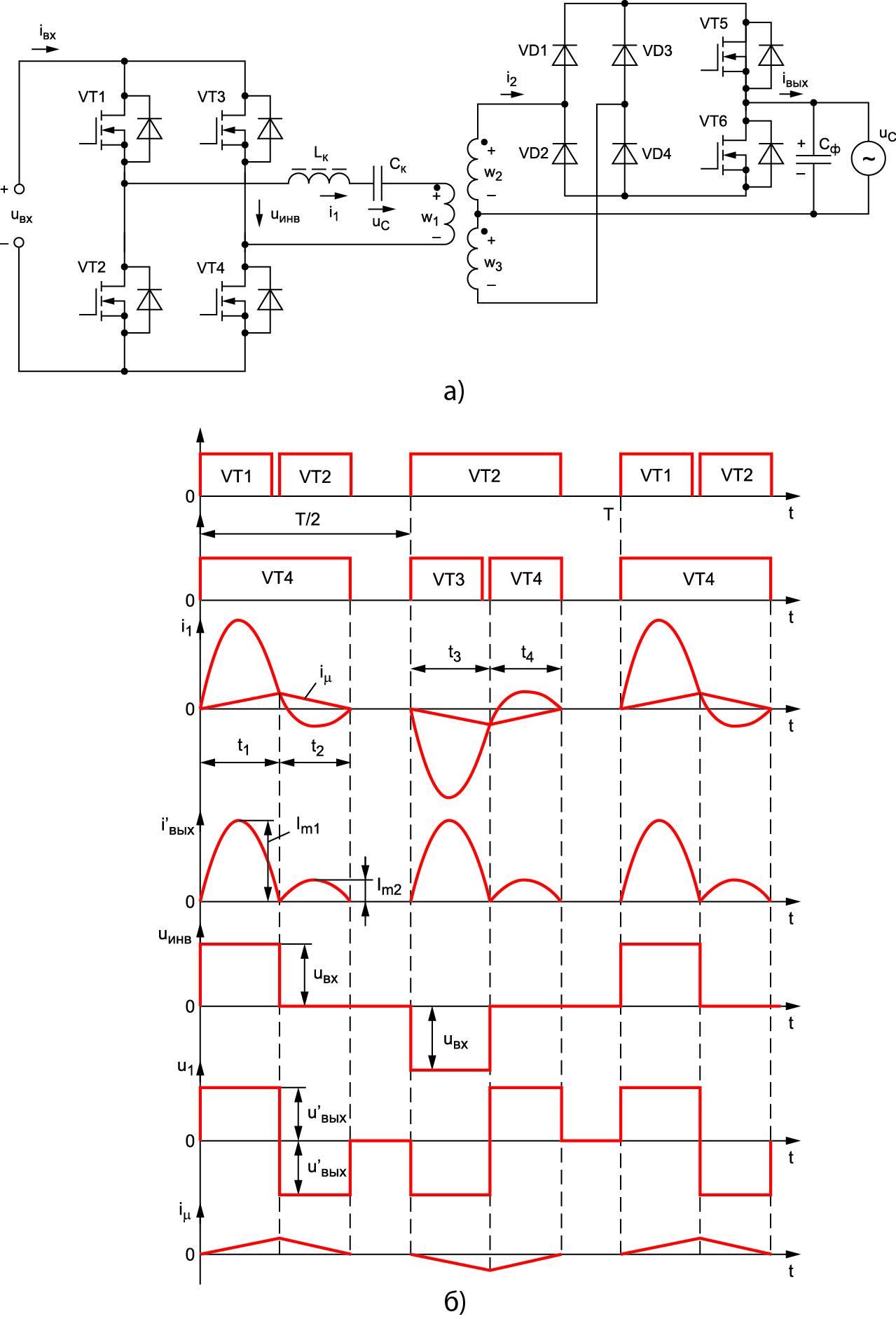Схема силовой части резонансного ППН с преобразователем частоты