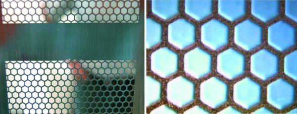 Металлический шаблон (нержавеющая сталь), «сотовая» структура пасты перед установкой модуля