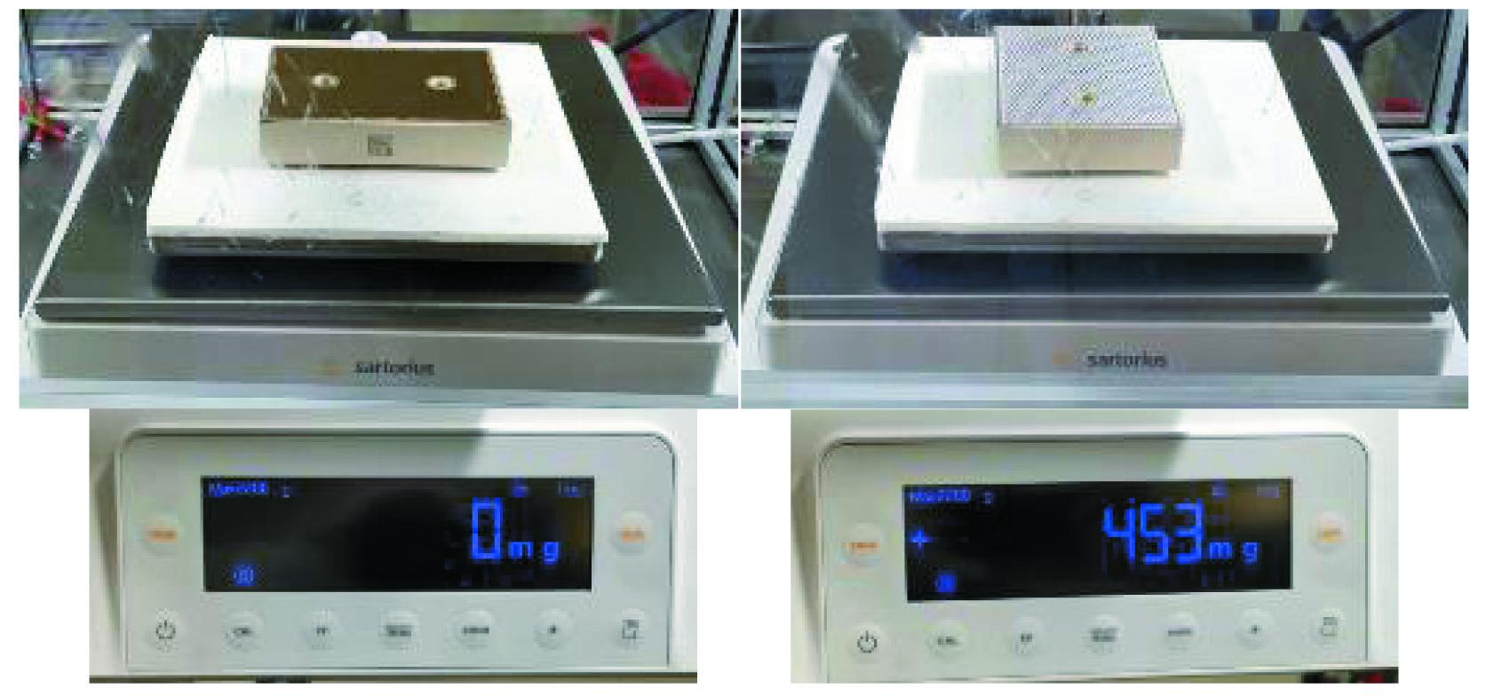 Измерение веса до (слева) и после (справа) нанесения пасты