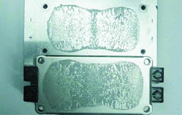 Распределение материала РСМ на поверхности модуля SEMiX после трех термоциклов +20/+85 °С