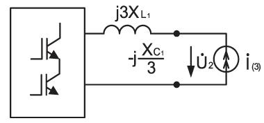 Эквивалентная схема при наличии третьей гармоники тока нелинейной нагрузки