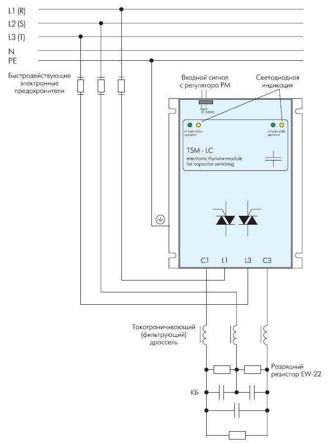 Схема подключения ТК типа TSM к компенсируемой сети