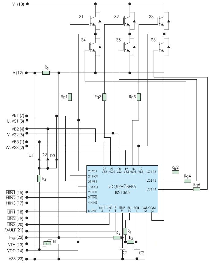 """Электрическая схема интеллектуальных силовых модулей версии """"В"""""""