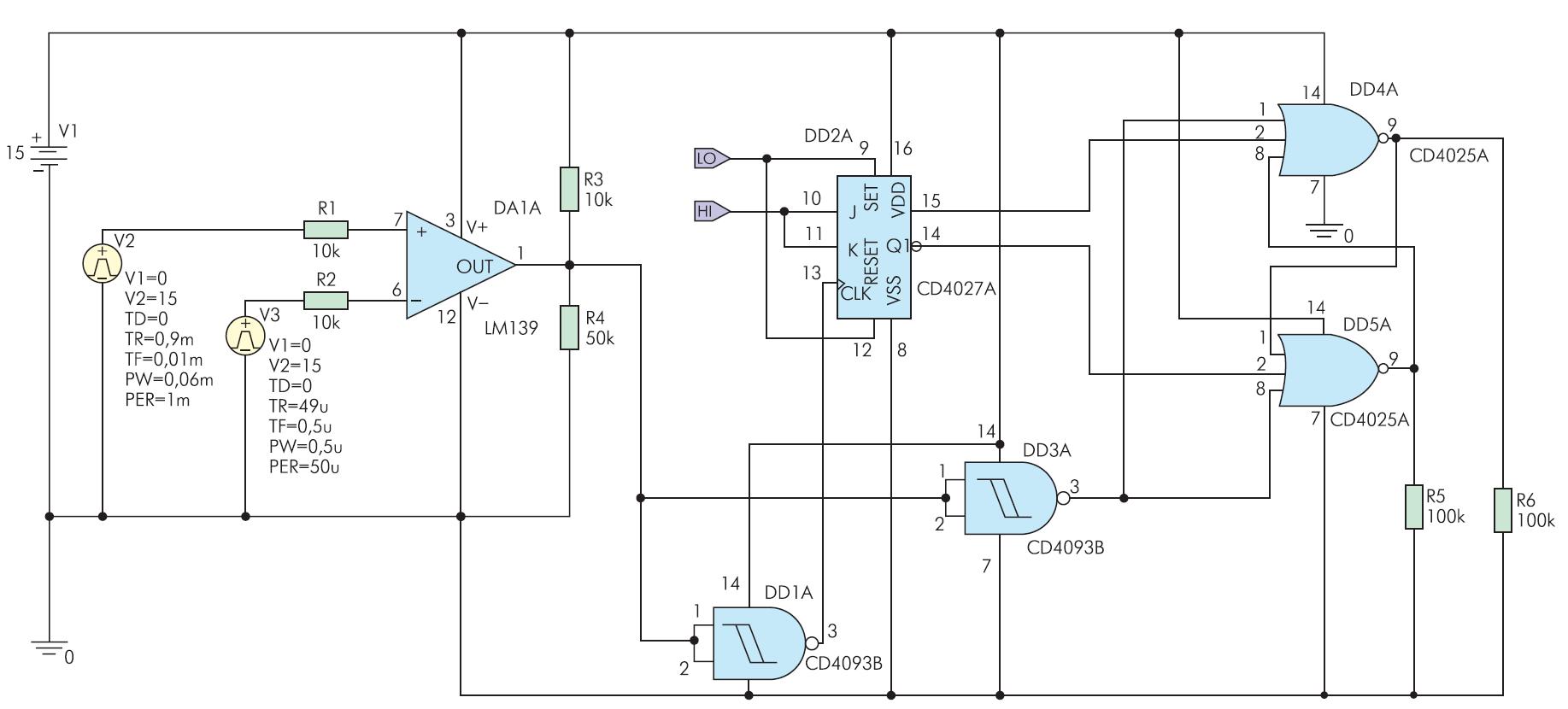 Схема аналого-цифровой модели генератора импульсов