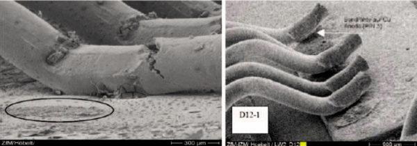 Разрушение связи алюминиевых выводов с металлизацией кристаллов при термоциклировании (фото сделано с помощью сканирующего электронного микроскопа)