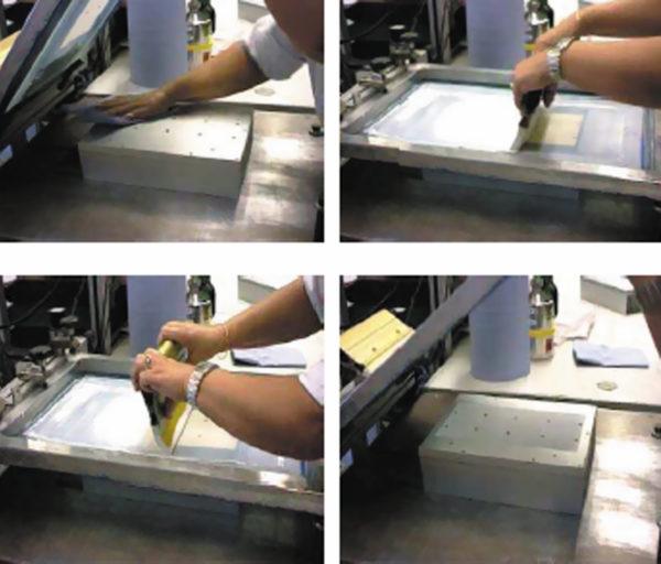 Нанесение пасты методом трафаретной печати или шелкографии