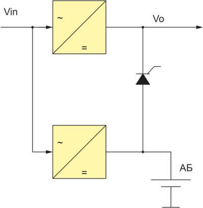 Блок-схема системы электропитания с дополнительным преобразователем для заряда АБ