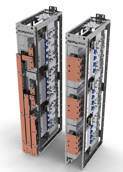 Базовый конструктив трехфазного инвертора SEMISTACK RE мощностью 1,4 МВт с двумя вариантами АС-выходов