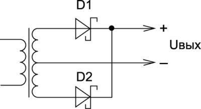 Вторичная цепь преобразователя  с применением диодов Шоттки