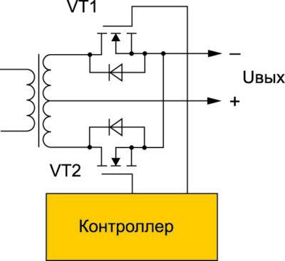 Вторичная цепь преобразователя  с применением синхронного выпрямления
