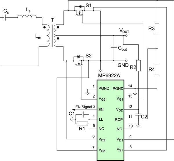Типовая схема подключения контроллера синхронного выпрямителя MP6922A  (выводы LL и RCP опциональны и присутствуют только в модификации MP6922A в корпусе SOIC14)