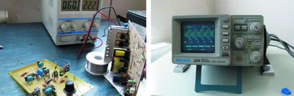 Полумостовая схема с подсистемой управления и осциллограмма изменения напряжения емкости С1 в период накопления и съема энергии на нагрузку