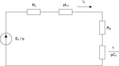 Операторная схема замещения в период замыкания ключа J1