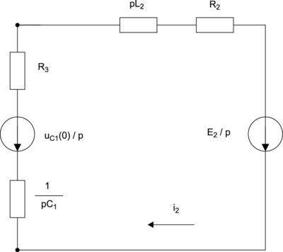 Операторная схема замещения в период замыкания ключа J2