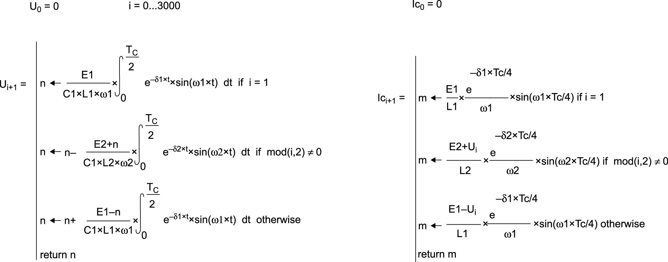 Рекурсивные алгоритмы вычисления токов ветвей и напряжения емкости для различных тактов работы ключей