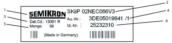 Рис. 17. Информация на этикетке 1. Логотип SEMIKRON. 2. Название модуля. 3. Dat. Cd (Дата–код), шесть цифр в формате YYWWL (YY — год, WW — неделя, L — номер партии). 4. Номер подтверждения отгрузки (Order Confirmation). 5. Menge (QTY): количество модулей в упаковке (входит в QR-код). 6. Id.-Nr: каталожный номер SEMIKRON (входит в QR-код), QR-код (штрих-код) выполняется по стандарту EEC 200 в формате 19/9