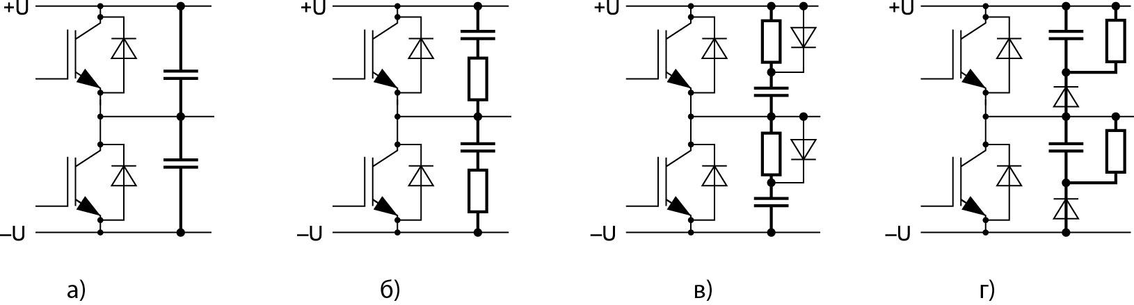 Схемы снабберов, установленных на ключах