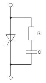 RC-снаббер одиночного тиристора