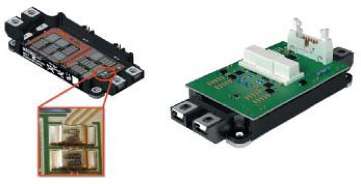 Расположение токового шунта наDBC-подложке модуля SEMiX453GB12E4Ip, сборка модуля ицифрового драйвера SKYPER12