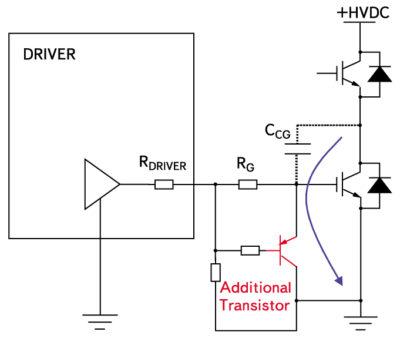 Активное подавление эффекта Миллера с помощью дополнительного биполярного транзистора
