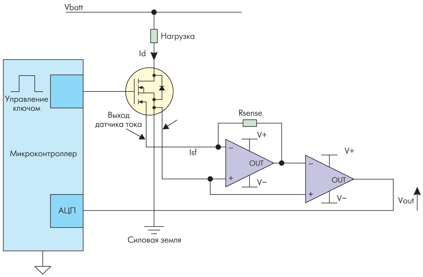 Схема измерения тока нагрузки мощного MOSFET-транзистора с виртуальной землей