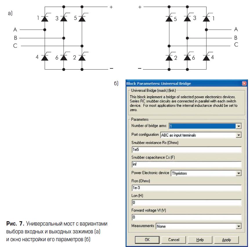Универсальный мост с вариантами выбора входных и выходных зажимов и окно настройки его параметров