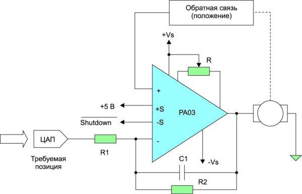 Типовое применение усилителя PA03