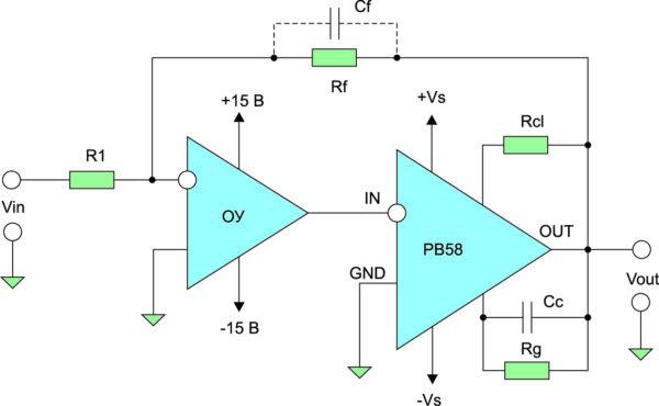 Схема типового применения усилителя PB58