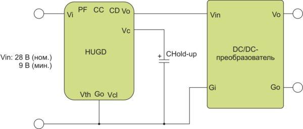Подключение модуля поддержания напряжения к DC/DC-преобразователю