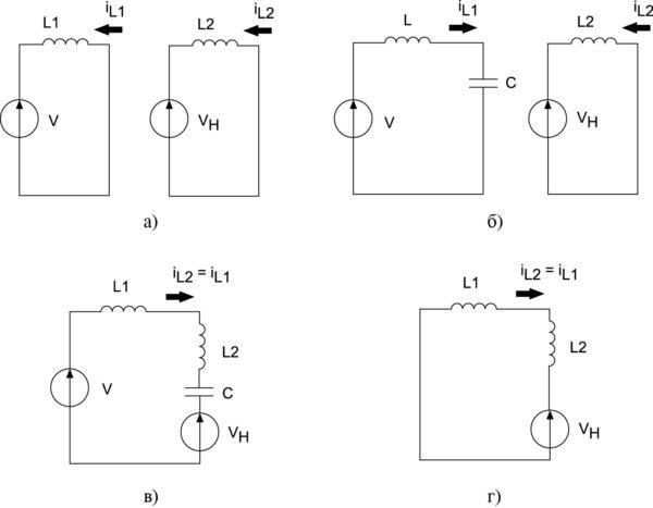 Эквивалентные расчетные схемы КПДПЭ (рис. 10а)