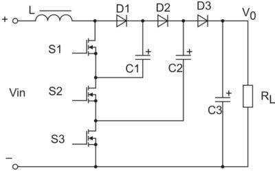 Рис. 1. Четырехуровневый повышающий преобразователь с переключающими конденсаторами