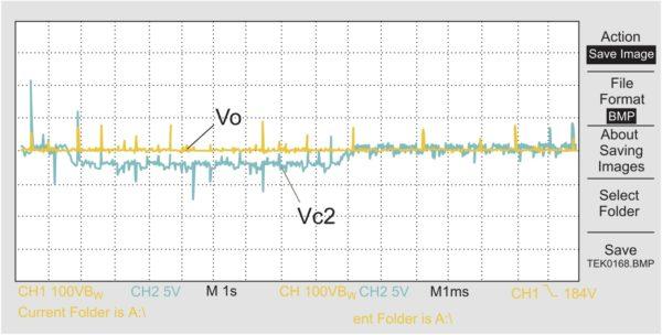 Эксперимент. Результат работы схемы управления при подавлении режима несимметрии. Напряжение Vc2 масштабировано