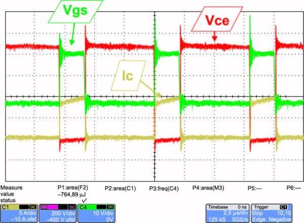 Диаграммы процессов переключения SiC MOSFET на частоте 125 кГц
