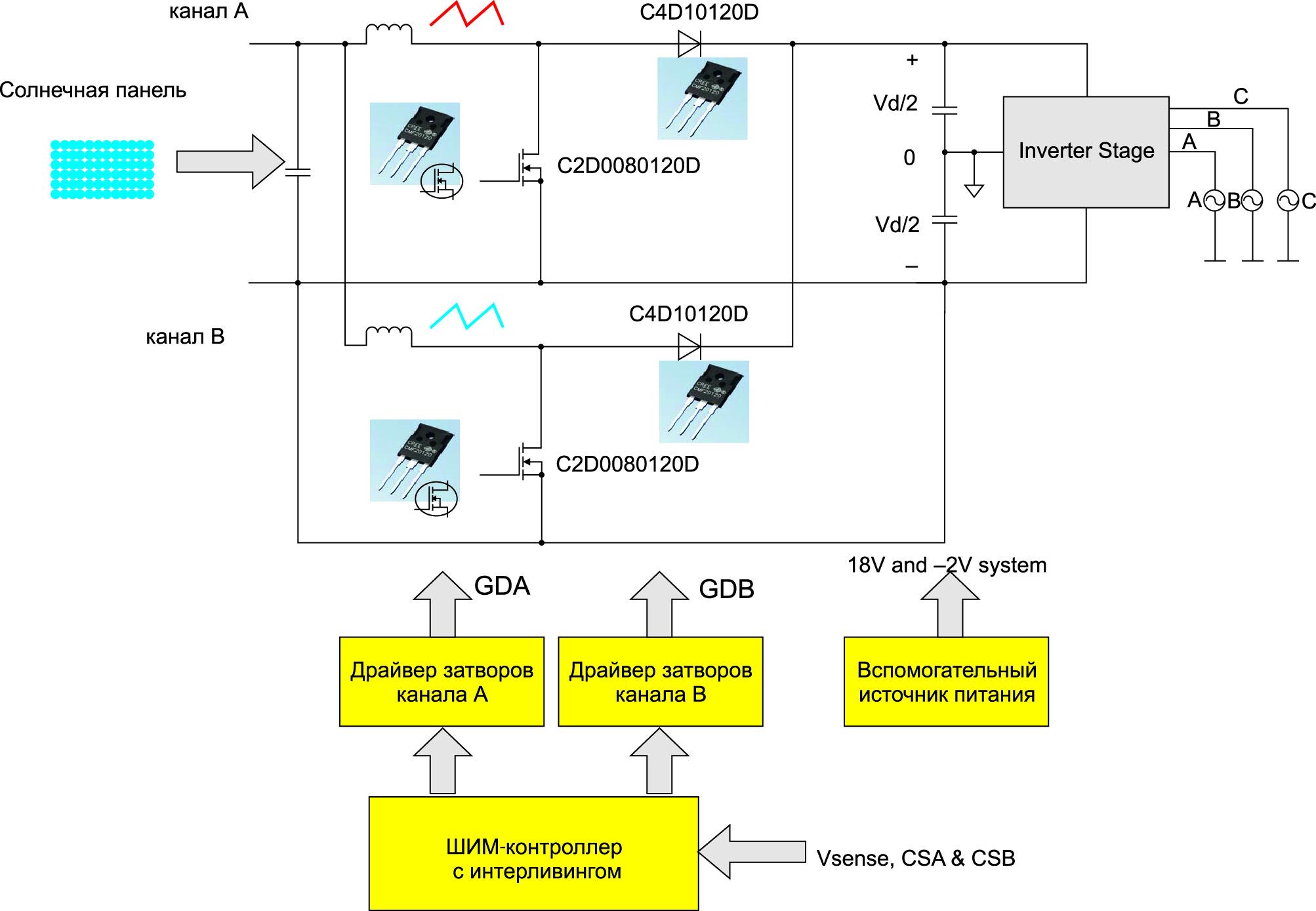 Повышающий конвертер мощностью 10 кВт в режиме чередования фаз на частоте 100 кГц