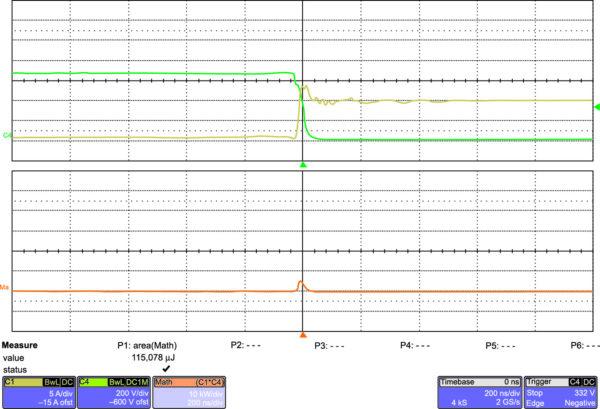 Эпюры включения IGW40N120H3 на частоте 20 кГц (200 нс/дел.)