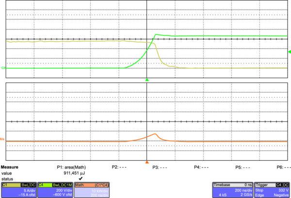 Эпюры выключения IGW40N120H3 на частоте 20 кГц (200 нс/дел.)