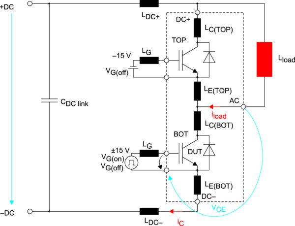 Тестовая схема с паразитными индуктивностями в цепи ВОТ IGBT и ТОР FWD