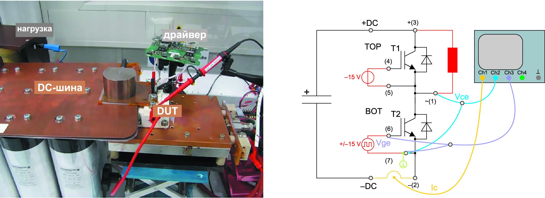 Стенд для испытаний динамических характеристик IGBT, схема измерений параметров ключей BOT IGBT/TOP FWD
